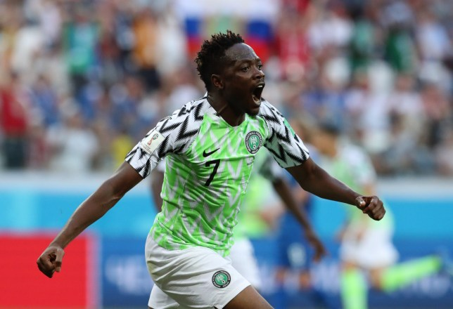epa06831319 Ahmed Musa of Nigeria celebrates after scoring the 1-0 goal during the FIFA World Cup 2018 group D preliminary round soccer match between Nigeria and Iceland in Volgograd, Russia, 22 June 2018. (RESTRICTIONS APPLY: Editorial Use Only, not used in association with any commercial entity - Images must not be used in any form of alert service or push service of any kind including via mobile alert services, downloads to mobile devices or MMS messaging - Images must appear as still images and must not emulate match action video footage - No alteration is made to, and no text or image is superimposed over, any published image which: (a) intentionally obscures or removes a sponsor identification image; or (b) adds or overlays the commercial identification of any third party which is not officially associated with the FIFA World Cup) EPA/ZURAB KURTSIKIDZE EDITORIAL USE ONLY