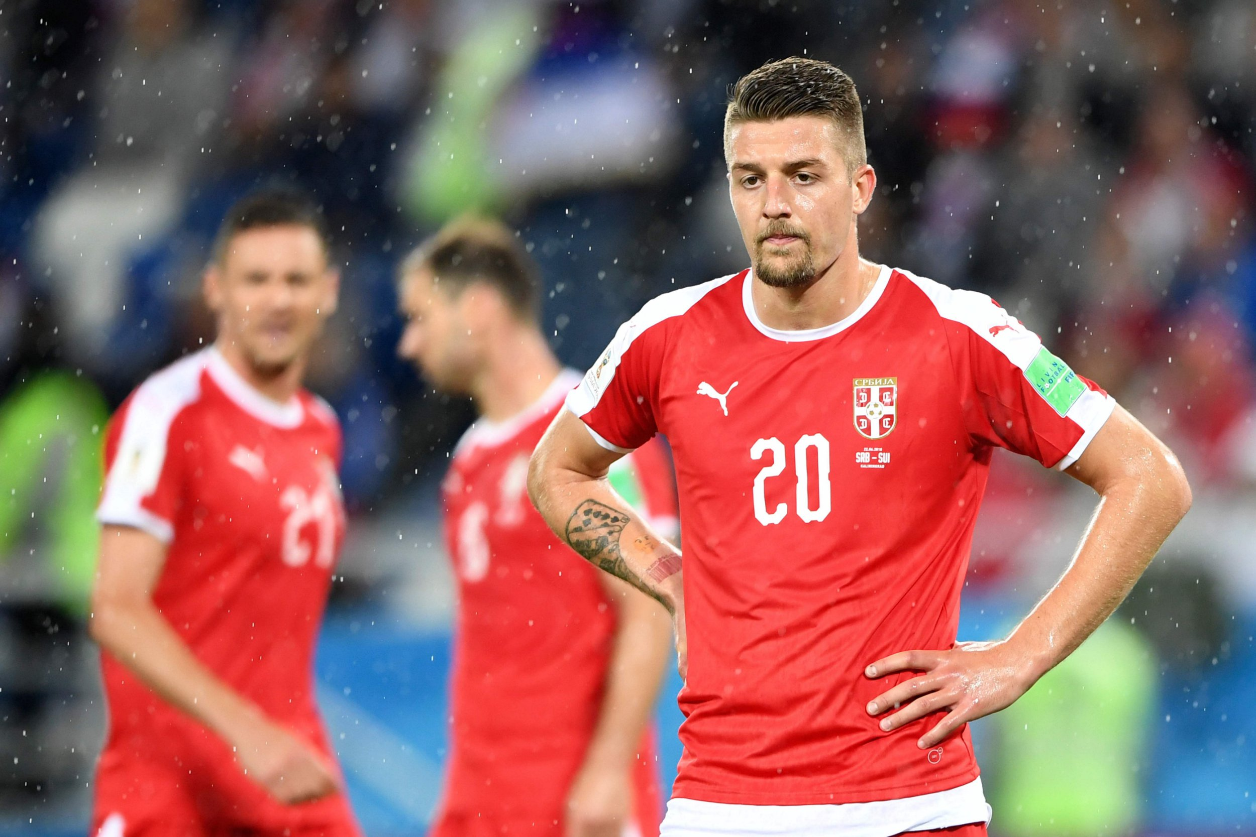 Serbia's midfielder Sergej Milinkovic-Savic reacts after losing their Russia 2018 World Cup Group E football match between Serbia and Switzerland at the Kaliningrad Stadium in Kaliningrad on June 22, 2018. / AFP PHOTO / OZAN KOSE / RESTRICTED TO EDITORIAL USE - NO MOBILE PUSH ALERTS/DOWNLOADSOZAN KOSE/AFP/Getty Images
