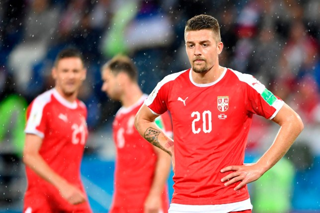 f44274636 Serbia s midfielder Sergej Milinkovic-Savic reacts after losing their  Russia 2018 World Cup Group E