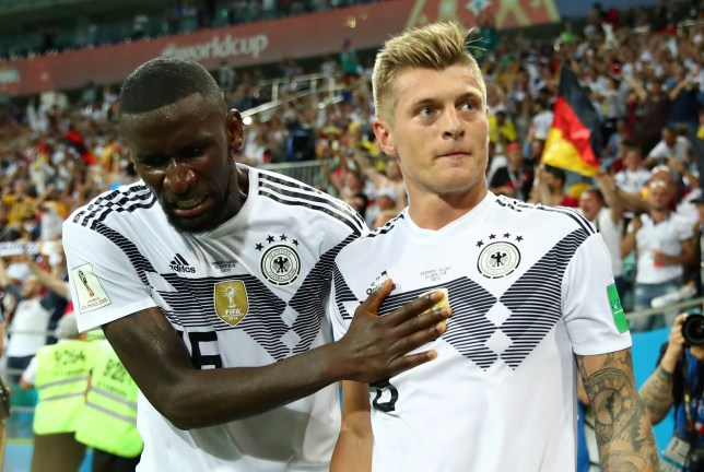 Soccer Football - World Cup - Group F - Germany vs Sweden - Fisht Stadium, Sochi, Russia - June 23, 2018 Germany's Toni Kroos celebrates scoring their second goal with Antonio Rudiger REUTERS/Michael Dalder