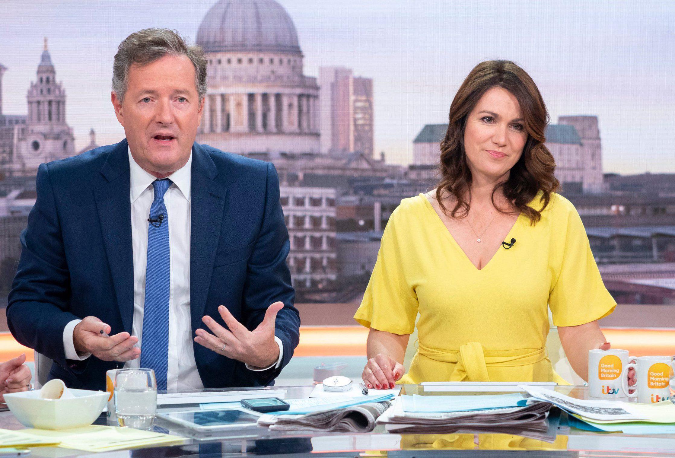 EDITORIAL USE ONLY. NO MERCHANDISING Mandatory Credit: Photo by Ken McKay/ITV/REX/Shutterstock (9727533x) Piers Morgan, Susanna Reid 'Good Morning Britain' TV show, London, UK - 26 Jun 2018