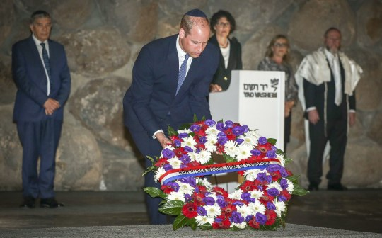 The Duke of Cambridge lays a wreath in the Hall of Remembrance, during a visit to the Yad Vashem Holocaust Memorial and Museum in Jerusalem, Israel's official memorial to the Jewish victims of the Holocaust, as part of his tour of the Middle East. PRESS ASSOCIATION Photo. Picture date: Tuesday June 26, 2018. See PA story ROYAL William. Photo credit should read: Ian Vogler/Daily Mirror/PA Wire