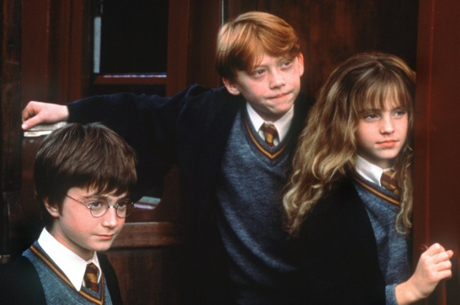 Harry Potter (Daniel Radcliffe), Ron Weasley (Rupert Grint) and Hermione Granger (Emma Watson) in a scene from Harry Potter and the Philosopher's Stone.