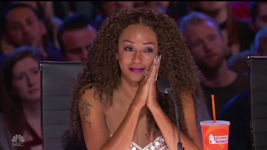 """BGUK_1274426 - ** RIGHTS: WORLDWIDE EXCEPT IN UNITED STATES ** Los Angeles, CA - Mel B chokes back tears during America's Got Talent audition by transgender singer Brody Ray. Brody left Mel B with tears in her eyes during his powerful performance about his transformation. Bearded crooner Brody, from Nebraska, had already moved the judges with his story of 'struggles and battles' growing up as a girl named Natalie until transitioning in 2010, saying: """"It was the start of my life."""" He then left the audience enthralled and earned a huge ovation with his performance of Jordan Smith's Stand In The Light, clearly relating to his own story as he sang: """"This is who I am inside, this is who I am and I'm not gonna hide??? just stand in the light and be seen as we are."""" Brody, a home care helper for people with special needs, burst into tears at the overwhelming response, including all four judges standing for ovation, telling them: """"It's just been a long road to get here."""" Former Spice Girl Mel had watched the performance with tears in her eyes and a giant smile, telling him after: """"I think your soul comes out when you sing because I can actually feel and hear your passion."""" Howie Mandel told Brody he had 'a really amazing story that's inspirational,' and clearly moved Brody again when he referred to the lyrics and told him: """"You're right now standing in the light."""" Simon Cowell also called him 'inspirational,' and insisted: """"You've got an amazing voice. I really like you, you're a great guy."""" Recommending he take on his own material rather than covers, he predicted: """"I actually think you could be a force to be reckoned with, I do."""" Heidi Klum had a similar message, calling him 'absolutely incredible' and stressing: """"Everyone was on their feet - you're going to go very, very far I think."""" Brody punched the air with joy at the response, and had more tears as host Tyra Banks hugged him backstage and told him: """"I'm just so happy for you."""" *BACKGRID DOES NOT CLAIM ANY COPYRIGHT O"""