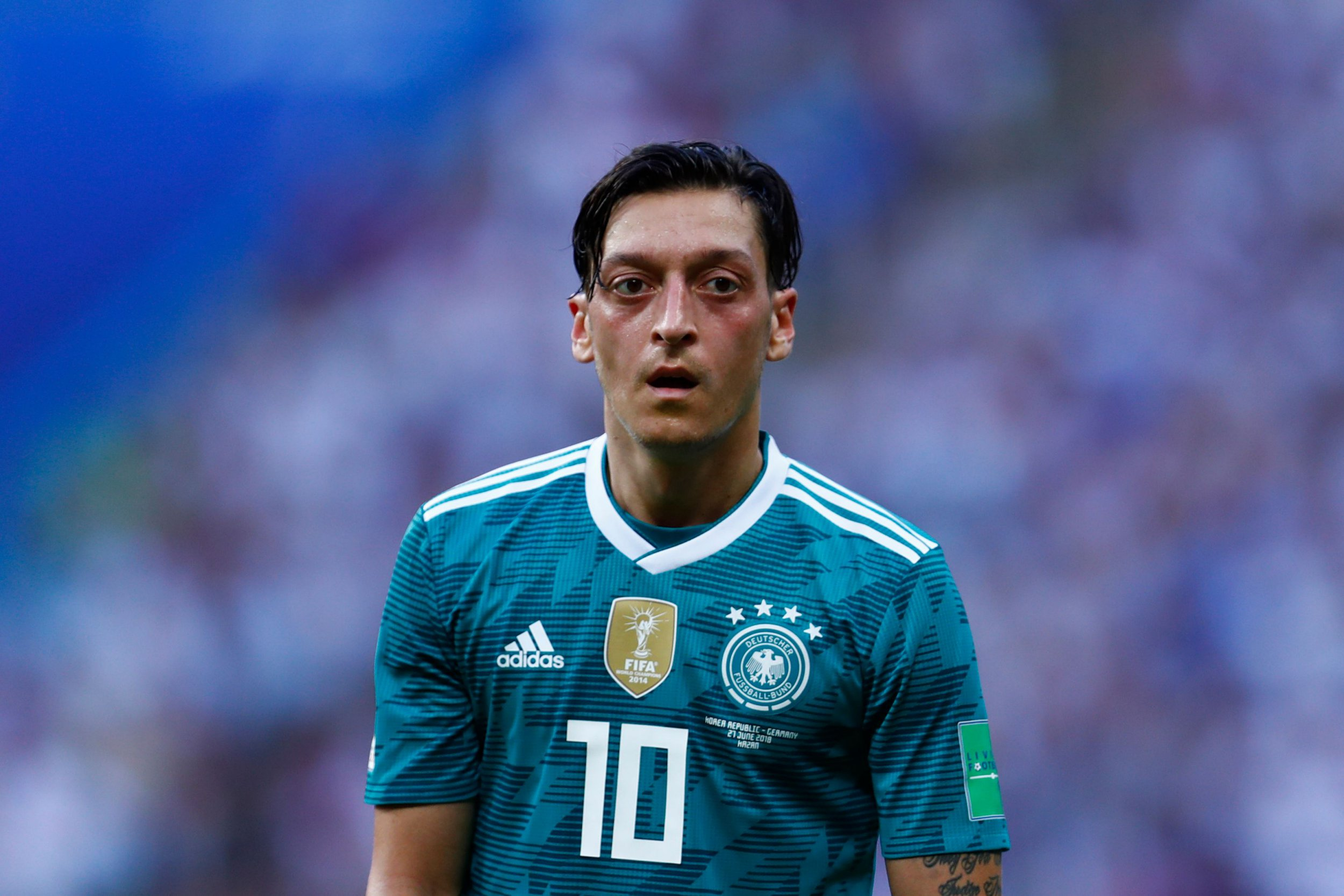 Germany's midfielder Mesut Ozil looks on during the Russia 2018 World Cup Group F football match between South Korea and Germany at the Kazan Arena in Kazan on June 27, 2018. / AFP PHOTO / BENJAMIN CREMEL / RESTRICTED TO EDITORIAL USE - NO MOBILE PUSH ALERTS/DOWNLOADSBENJAMIN CREMEL/AFP/Getty Images