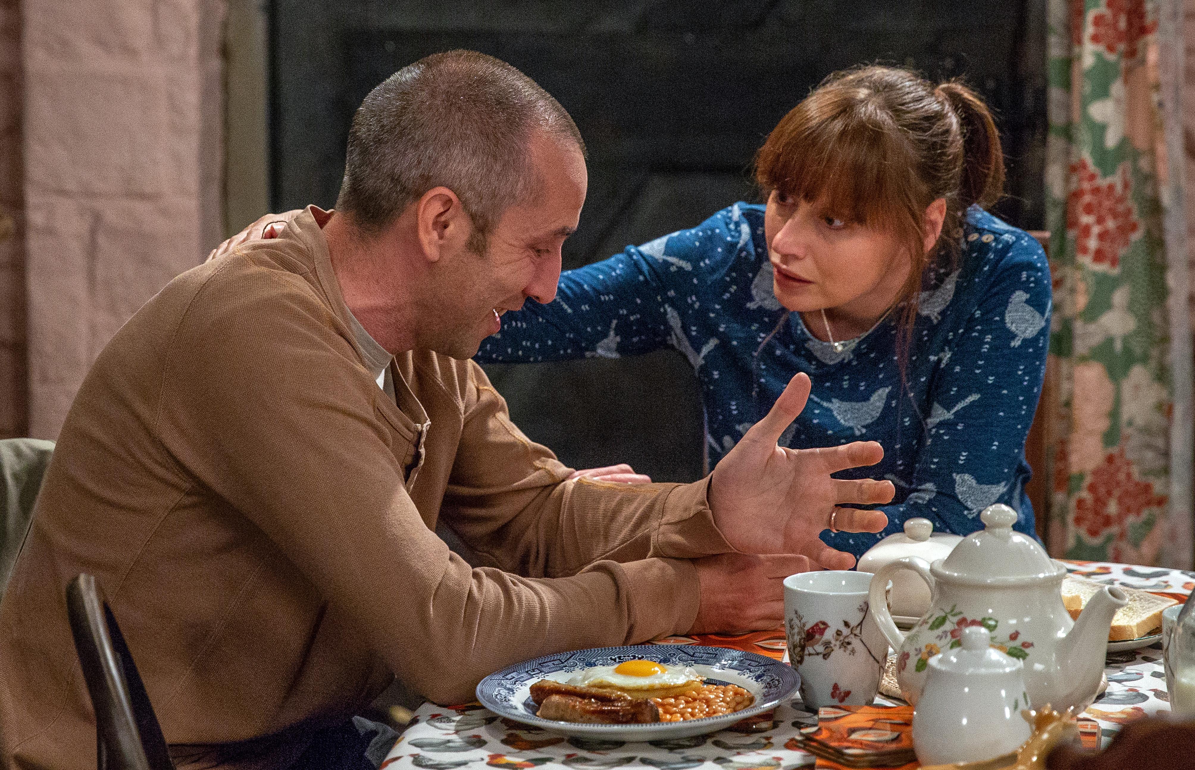 Lydia comforts Sam in Emmerdale