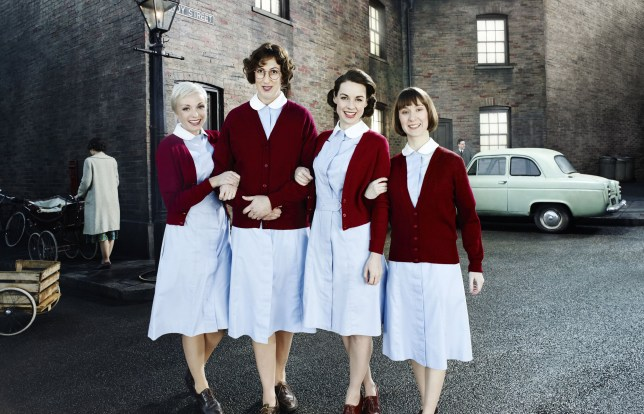 Television Programme: Call the Midwife - TX: n/a - Episode: n/a (No. 1) - Embargoed for publication until: n/a - Picture Shows: Trixie (HELEN GEORGE), Chummy (MIRANDA HART), Jenny Lee (JESSICA RAINE), Cynthia Miller (BRYONY HANNAH) - (C) Neal Street Productions - Photographer: Jonathan Ford