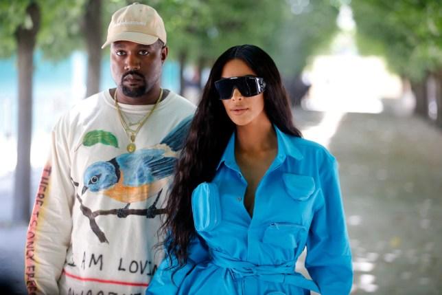 Kanye West and Kim Kardashian at Paris Fashion Week