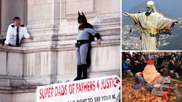Nudity, costumes and throwing things: The strangest protests in recent years