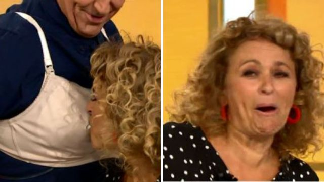 Nadia Sawalha gets breastfed by Brian Conley on live TV – and Ross Kemp is having none of it