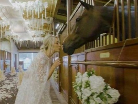 519a71a96f13 Kaley Cuoco got ready for her wedding in a barn as she put her dress on