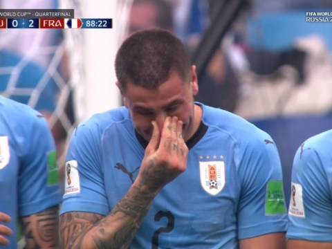 Jose Gimenez bursts into tears in Uruguay wall with two minutes remaining against France