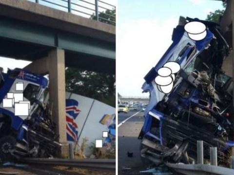 Lorry driver survives devastating crash into motorway bridge on M6