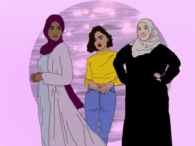 Drawings of three Muslim women for Muslim Women's Day