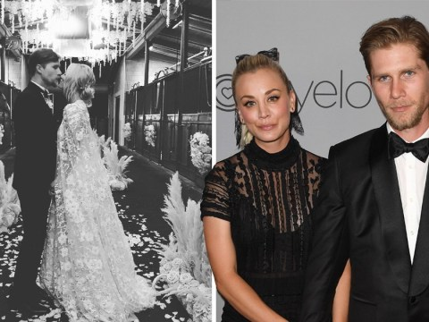 d0b2bde567cc Kaley Cuoco is joined by Big Bang Theory co-stars as she marries Karl Cook  in lavish ceremony