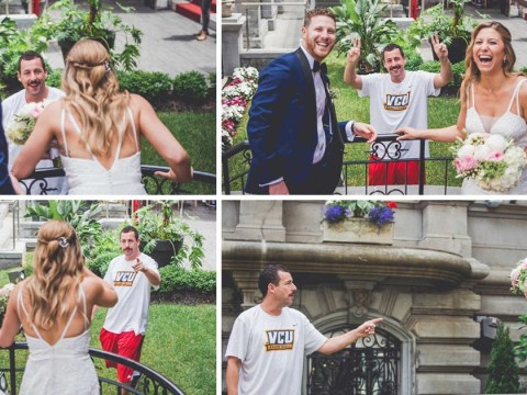 Adam Sandler crashes fans' wedding day and pops up in official photos because why not?