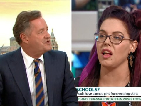 Piers Morgan has a fiery clash over transgender rights during a debate on skirts in schools