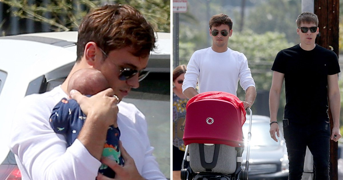 Tom Daley and Dustin Lance Black take baby Robert Ray for first outing in LA