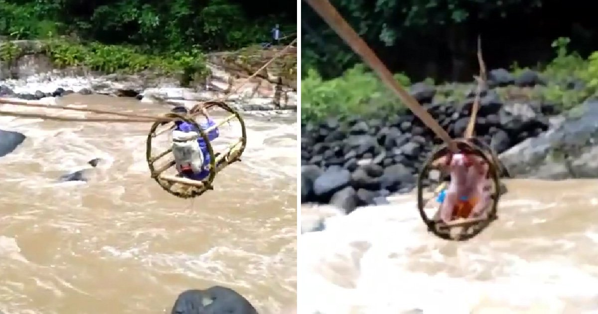 Youngsters make perilous school journey every day across raging river