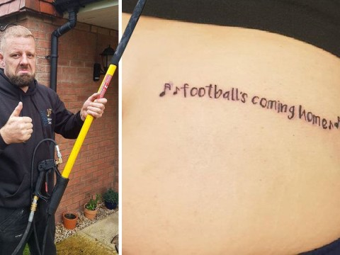 Man gets 'Football's coming home' tattooed on his bum