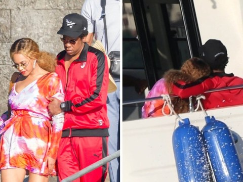 Beyonce performs miracle as she manages to walk along deck without getting stilettos caught in gaps
