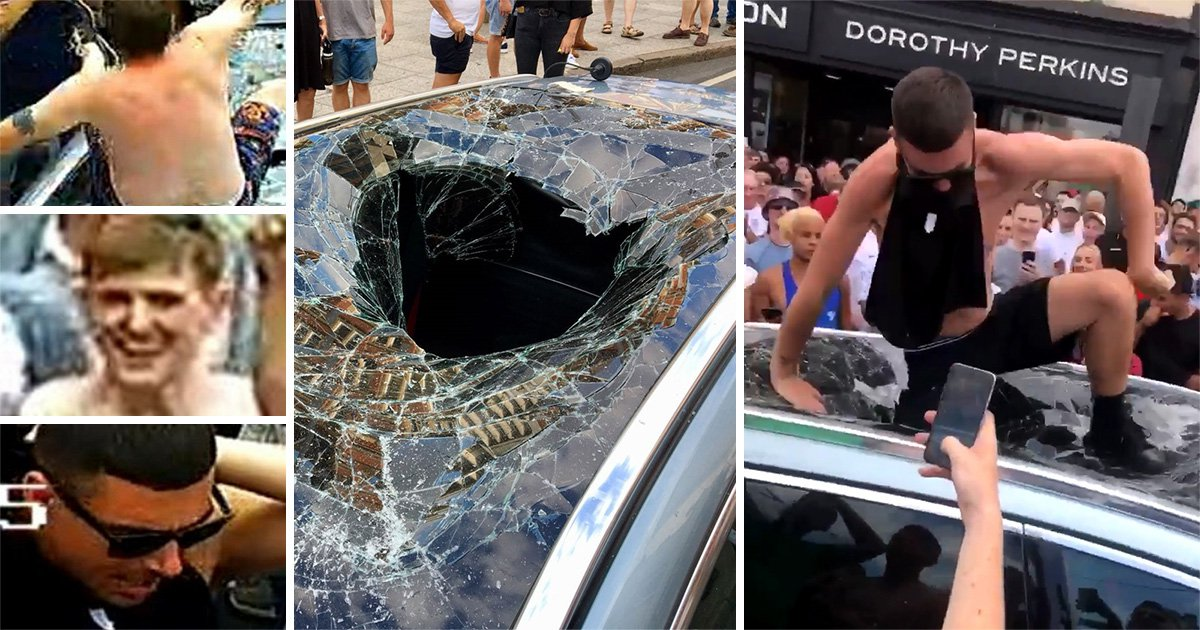 Police hunting for England fans who smashed up taxi during World Cup celebrations