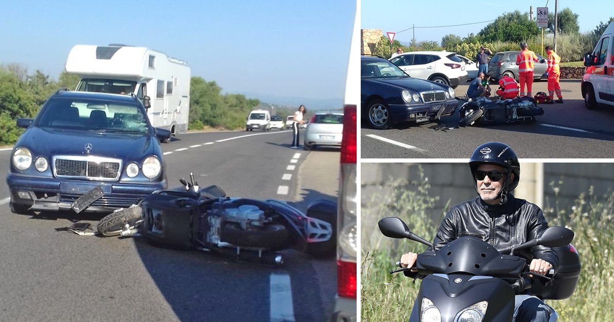 George Clooney rushed to hospital after motorbike crash with car in Sardinia