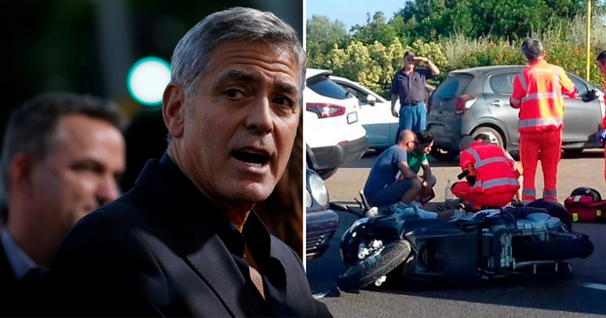 Shocking moment George Clooney slams head on into Mercedes emerges