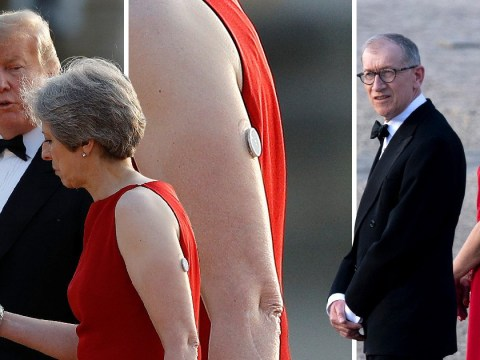 What is on Theresa May's arm during the dinner with Donald Trump?