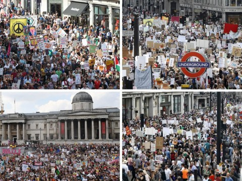 Photos show incredible scale of protests against Donald Trump's visit