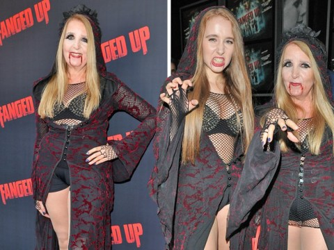 Gillian McKeith and her daughter, 18, don studded bras, fishnets and fake blood for vampire-themed premiere
