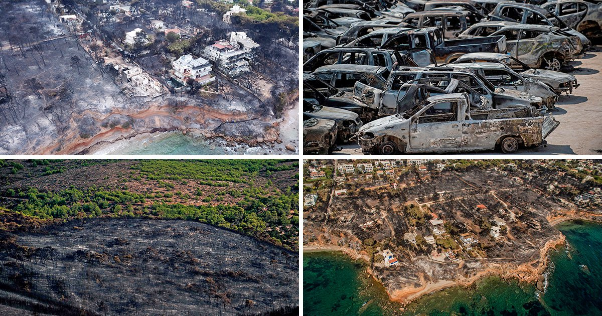 New pictures show entire towns devastated by deadly wildfires in Greece