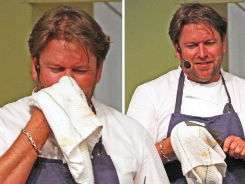 James Martin appears to blow nose on same cloth used to clean cooking utensils