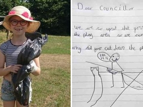 Little girl demands to know why council 'chopped down' her beloved playground