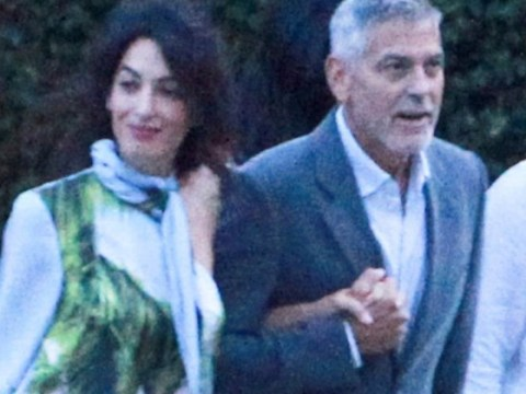 George Clooney clings onto Amal as they head to dinner with Stella McCartney in Lake Como
