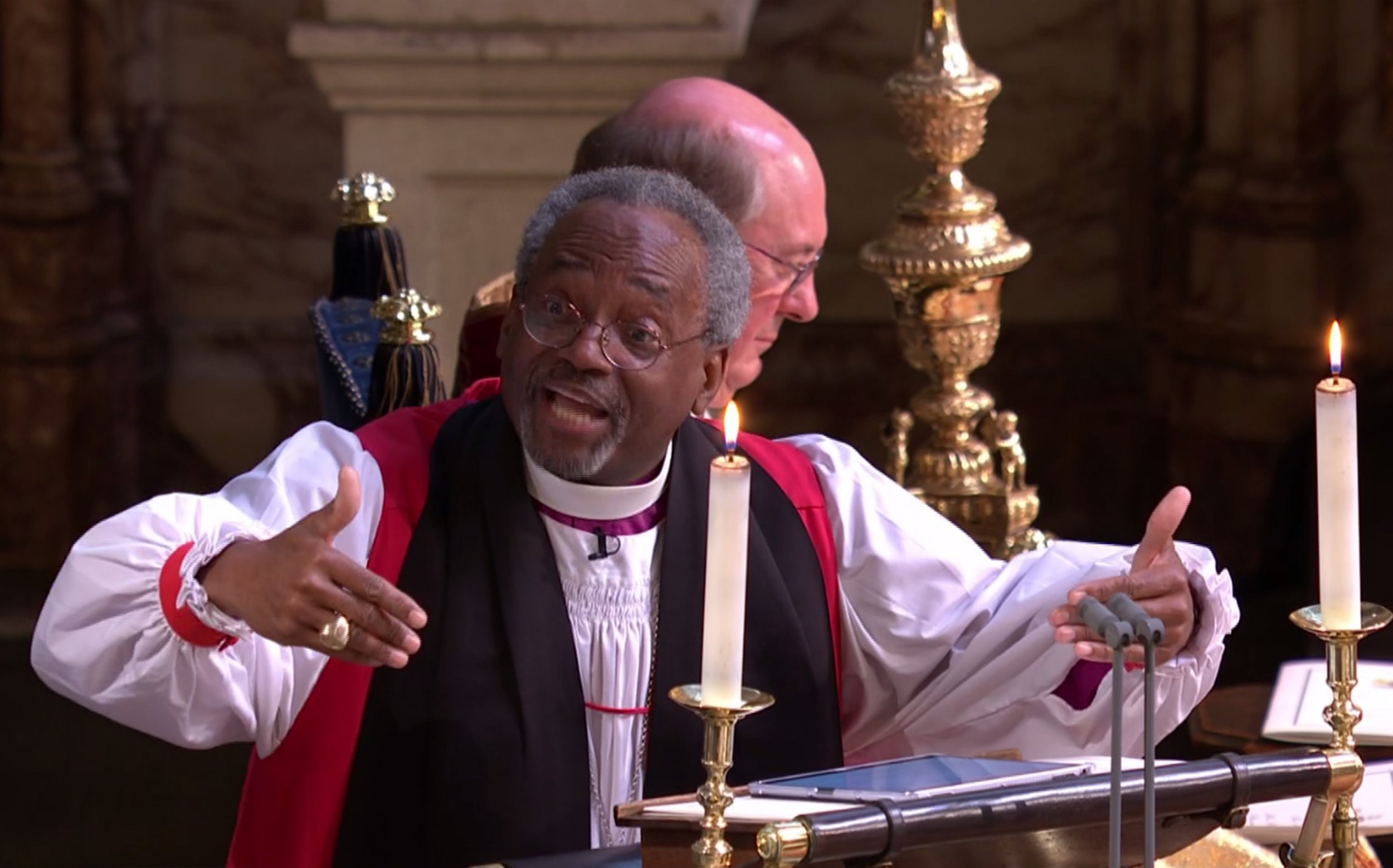 US Bishop Michael Curry address to St Georges' Chapel Windsor for 13 minutes 43 seconds. The wedding of Prince Harry and Meghan Markle.