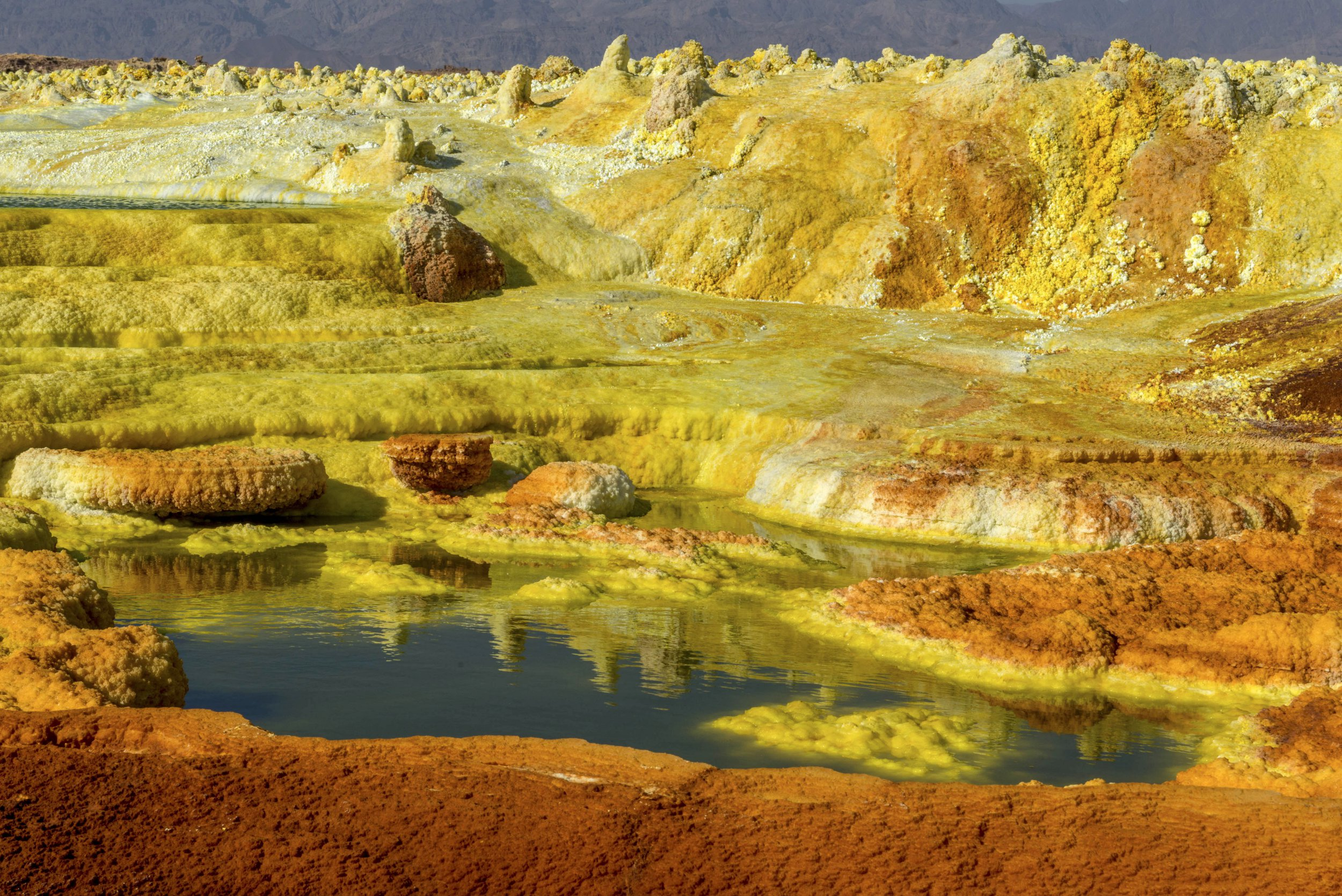 PIC BY Neta Dekel / CATERS NEWS - (PICTURED ) These stunning images show the beauty and drama of Mother Nature at work. Captured deep in heart of the Danakil Desert in East Africa, the images show the acid pools near the Erta Ale volcano. Pools of brightly coloured acid can be seen amid the dramatic blast of volcanic ash. Taken by Neta Dekel, the Israeli photographer said that the acid pools were one of the most extraordinary sights he has ever seen. SEE CATERS COPY