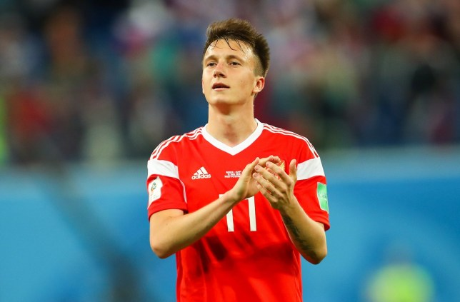 SAINT PETERSBURG, RUSSIA - JUNE 19: Aleksandr Golovin of Russia applauds at the end of during the 2018 FIFA World Cup Russia group A match between Russia and Egypt at Saint Petersburg Stadium on June 19, 2018 in Saint Petersburg, Russia. (Photo by Robbie Jay Barratt - AMA/Getty Images)