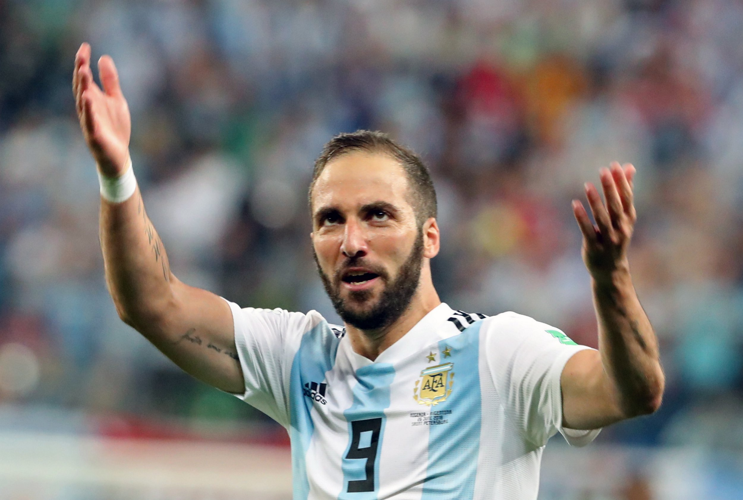 ST PETERSBURG, RUSSIA ? JUNE 26, 2018: Argentina's Gonzalo Higuain gestures in a First Stage Group D football match between Nigeria and Argentina at Saint Petersburg Stadium (Krestovsky Stadium) at FIFA World Cup Russia 2018; Argentina won 2-1. Alexander Demianchuk/TASS