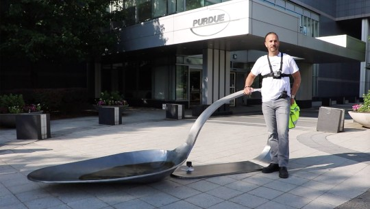 Artist Domenic Esposito made a big statement about America?s opioid epidemic?when he dropped an 800-pound sculpture of a heroin spoon outside the HQ of an OxyContin Manufacturer on Friday [June 22, 2018] in Stamford, Connecticut, USA. OxyContin, and other prescription opiates, have been identified as a possible gateway drugs to heroin in some medical studies. Boston-based Esposito was inspired to make the work after living through his brother Danny?s 14-year struggle with heroin addiction. The giant piece of protest artwork was delivered to the doorstep of drugmaker Purdue Pharma, where it hindered traffic flow to the facility. Esposito worked with the gallerist Fernando Luis Alvarez for the guerrilla installation, which led to their arrests, on criminal misdemeanor and felony charges. In 2007 Perdue paid a $600 million settlement after three of its executives pleaded guilty to charges of criminal ?misbranding? of the addictive effects of the drug. According to?a study by the National Institute of Drug Abuse?more than 115 people in the US die each day after overdosing on opioids, and?an estimated 80% of people who use heroin first misused prescription opioids. ?They are accountable for thousands of deaths,? says Esposito in a video that was shot at the scene of the installation. Pictured: Artist Domenic Esposito and gallerist Fernando Luis Alvarez delivered the giant heroin spoon to the doorstep of drugmaker Purdue Pharma Ref: SPL5006689 270618 NON-EXCLUSIVE Picture by: O?Neill/Berman/Splash / SplashNews.com Splash News and Pictures Los Angeles: 310-821-2666 New York: 212-619-2666 London: 0207 644 7656 Milan: +39 02 4399 8577 photodesk@splashnews.com World Rights,
