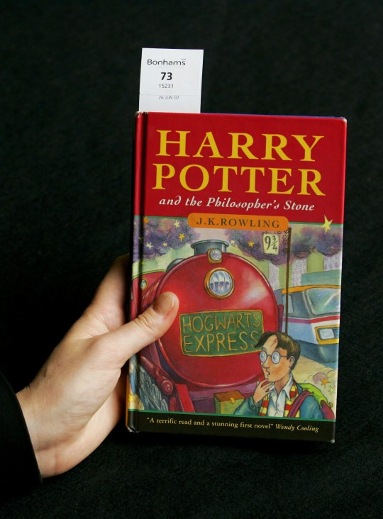 A first edition copy of JK Rowling's first novel 'Harry Potter and the Philosopher's Stone' is displayed at offices of the Bonhams auction house in London, Wednesday June 6, 2007. The copy is estimated to fetch pounds 5,000 to 7,000 (US $9,971 / euro 7,371 to US $13.959 / euro 10,320 ) when it features in a Printed Books, Maps, Manuscripts and Photography sale at Bonhams in London on Tuesday June 26. (AP Photo/Matt Dunham)