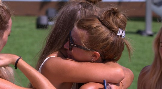 Editorial Use Only. No merchandising Mandatory Credit: Photo by ITV/REX/Shutterstock (9732091ae) Georgia Steel comforts Dani Dyer. 'Love Island' TV Show, Series 4, Episode 28, Majorca, Spain - 01 Jul 2018
