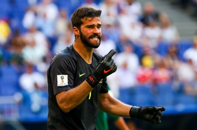 SAMARA, RUSSIA - JULY 2, 2018: Brazils goalkeeper Alisson in their 2018 FIFA World Cup Round of 16 match against Mexico at Samara Arena Stadium. Sergei Savostyanov/TASS (Photo by Sergei Savostyanov\TASS via Getty Images)