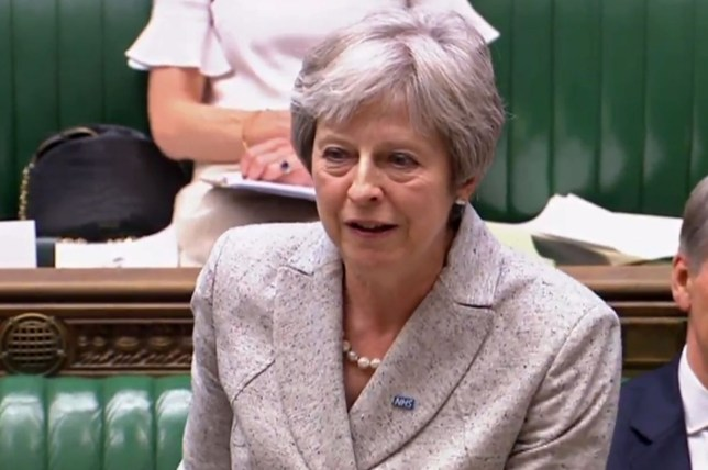 "In this video grab taken from footage broadcast by the UK Parliamentary Recording Unit (PRU) via the Parliament TV website on July 2, 2018, Britain's Prime Minister Theresa May answers questions after making a statement in the House of Commons on the EU summit and Brexit developments. / AFP PHOTO / PRU / Handout / RESTRICTED TO EDITORIAL USE - NO USE FOR ENTERTAINMENT, SATIRICAL, ADVERTISING PURPOSES - MANDATORY CREDIT "" AFP PHOTO / PRU "" HANDOUT/AFP/Getty Images"