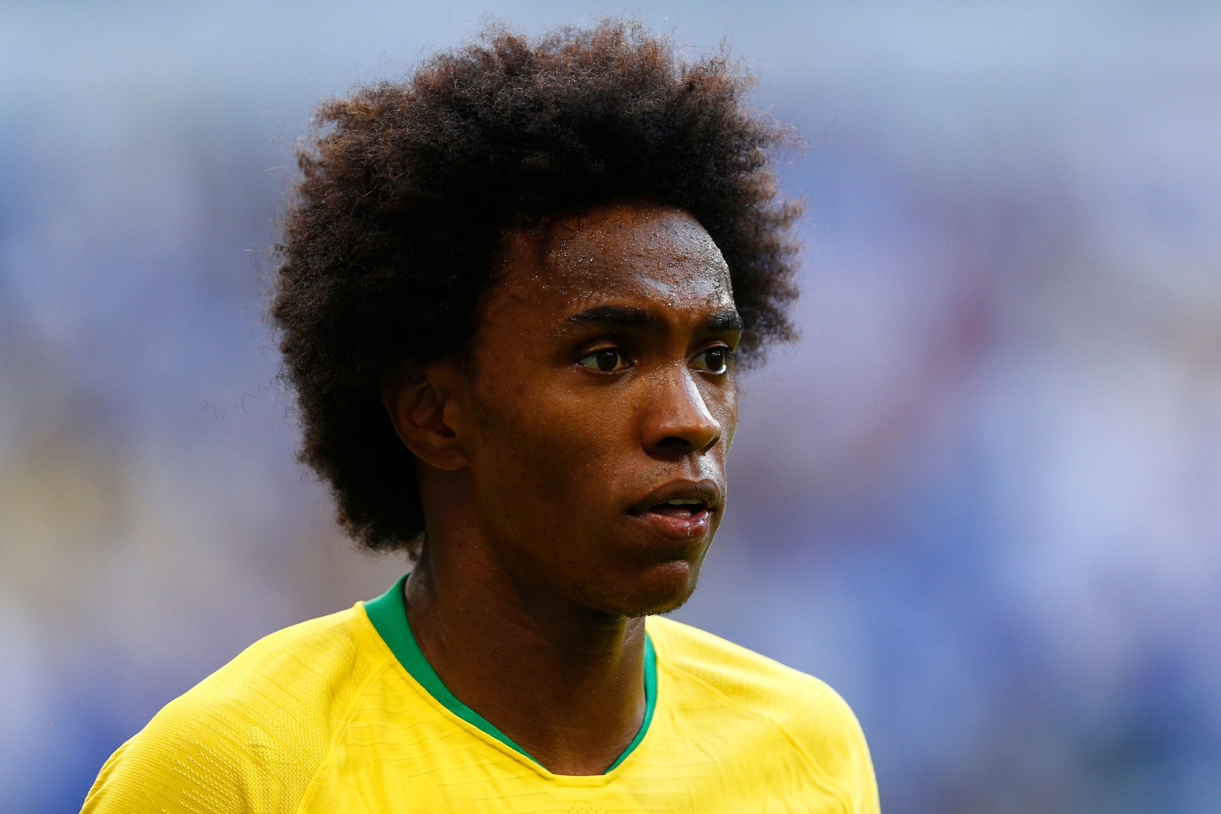 Brazil's forward Willian reacts during the Russia 2018 World Cup round of 16 football match between Brazil and Mexico at the Samara Arena in Samara on July 2, 2018. / AFP PHOTO / BENJAMIN CREMEL / RESTRICTED TO EDITORIAL USE - NO MOBILE PUSH ALERTS/DOWNLOADSBENJAMIN CREMEL/AFP/Getty Images