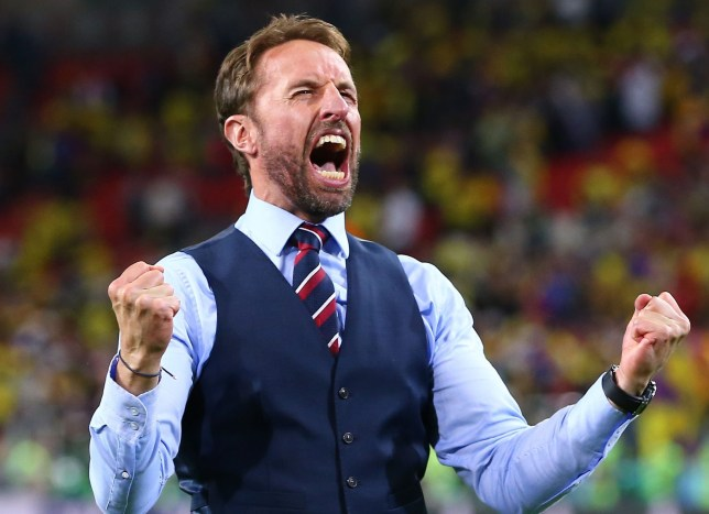 Mandatory Credit: Photo by Michael Zemanek/BPI/REX/Shutterstock (9734613fb) Manager Gareth Southgate of England celebrates after the penalty shoot out Colombia v England, Round of 16, 2018 FIFA World Cup football match, Spartak Stadium, Moscow, Russia - 03 Jul 2018