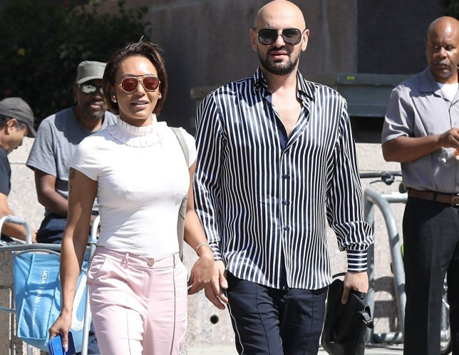 Los Angeles, CA - *EXCLUSIVE* - Mel B and her best friend/hairdresser Gary Madatyan spotted exiting a Los Angeles Courthouse this morning after another hearing. Mel is said to be locked in a court battle with ex Stephen over who will gain ownership of their Hollywood Hills home that it has been reported Stephen has been using for wild parties. Pictured: Melanie Brown, Melanie Brown BACKGRID USA 5 JULY 2018 USA: +1 310 798 9111 / usasales@backgrid.com UK: +44 208 344 2007 / uksales@backgrid.com *UK Clients - Pictures Containing Children Please Pixelate Face Prior To Publication*