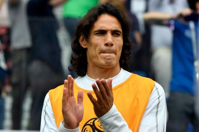 3d8263129 Uruguay s Edinson Cavani applaudes ahead of the quarterfinal match between  Uruguay and France at the 2018