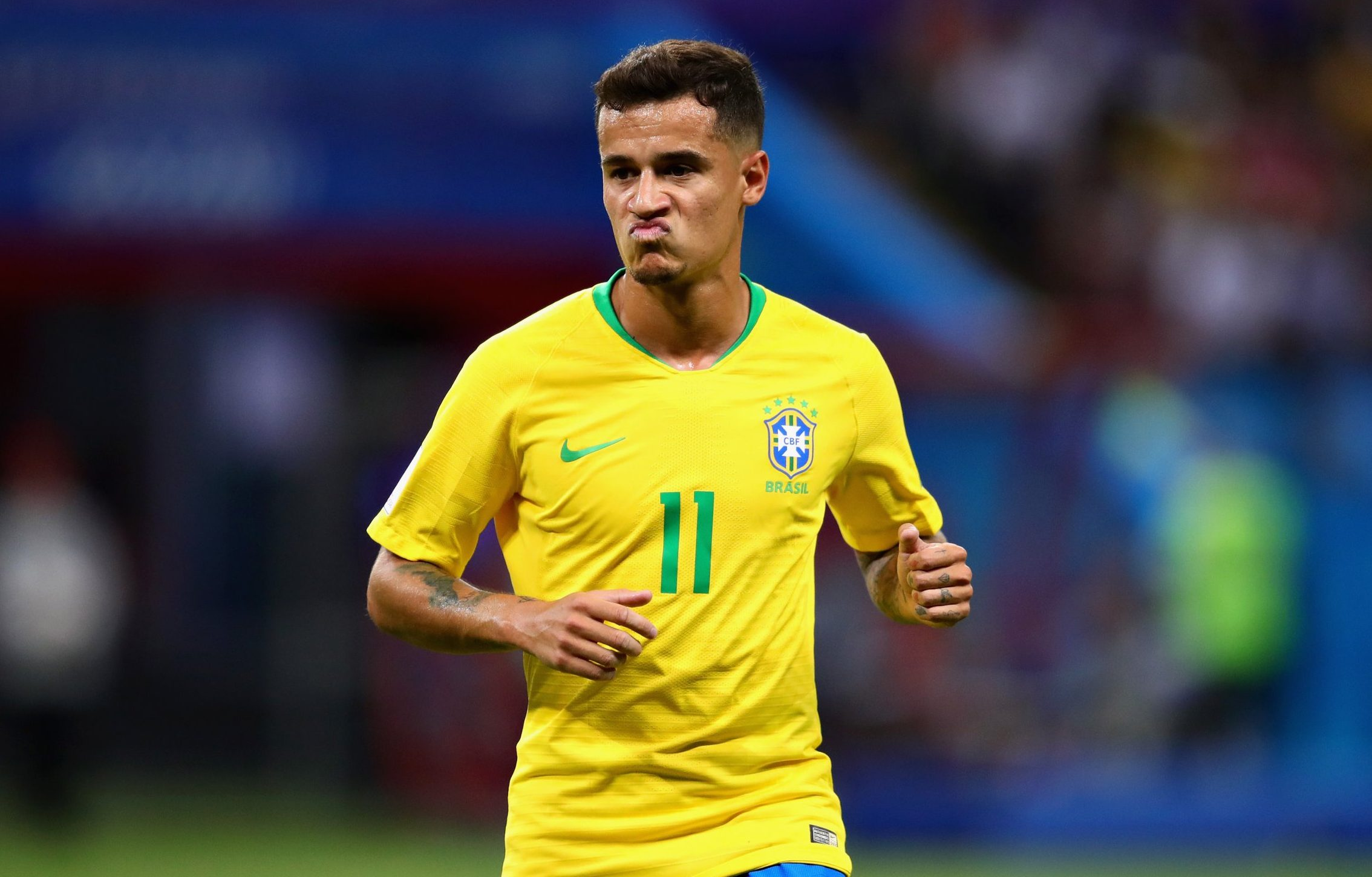 KAZAN, RUSSIA - JULY 06: Philippe Coutinho of Brazil in action during the 2018 FIFA World Cup Russia Quarter Final match between Brazil and Belgium at Kazan Arena on July 6, 2018 in Kazan, Russia. (Photo by Chris Brunskill/Fantasista/Getty Images)