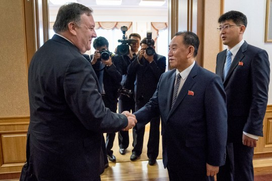 U.S. Secretary of State Mike Pompeo meets with Kim Yong Chol, second from right, a North Korean senior ruling party official and former intelligence chief, for a second day of talks at the Park Hwa Guest House in Pyongyang, North Korea, Saturday, July 7, 2018. Pompeo is on a trip traveling to North Korea, Japan, Vietnam, Abu Dhabi, and Brussels. (AP Photo/Andrew Harnik, Pool)